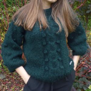 Sweter moherowy butelkowa zieleń