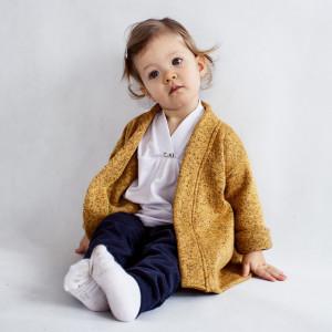 Sweter z paskiem musztardowy melanż