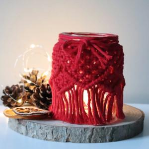 Świąteczny lampion, świecznik makramowy
