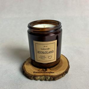 Świeca sojowa z podstawkiem - Ziołoland- 180ml