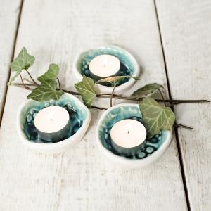Świeczniki turkusowe 3 szt z bielą tealight