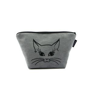 Szara kosmetyczka z czarnym wyszytym kotkiem