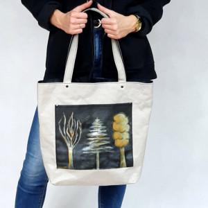 Szara, vegańska, malowana ręcznie torba na ramię