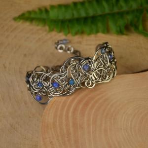 Szeroka bransoleta agat niebieski wire wrapping