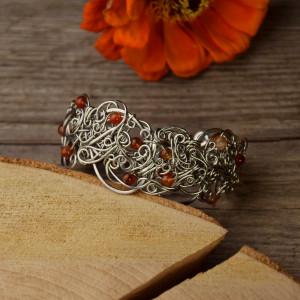 Szeroka bransoleta agat pomarańczowy wire wrapping