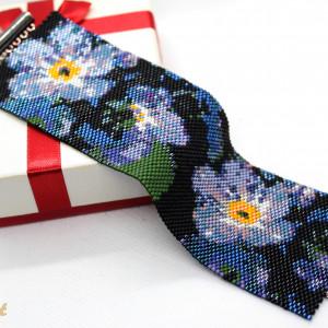 Szeroka bransoletka mankietowa - kwiaty