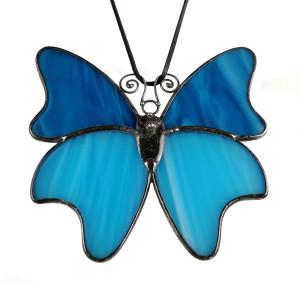 Szklana zawieszka motyl (witraż)(niebieska)