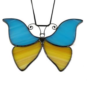 Szklana zawieszka motyl (witraż)(niebiesko  żółta)