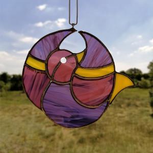 Szklana zawieszka ptak (witraż) #12