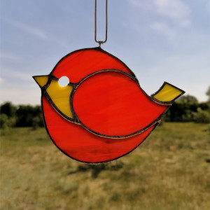 Szklana zawieszka ptak (witraż) #2
