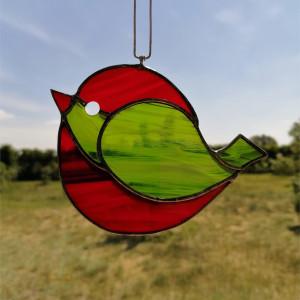 Szklana zawieszka ptak (witraż) #3