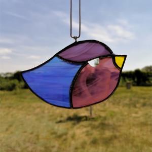 Szklana zawieszka ptaszek (witraż) #2