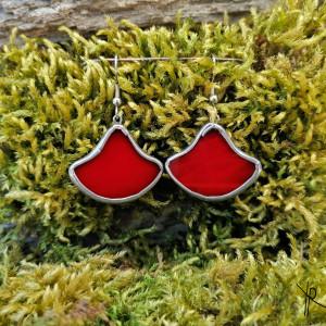 Szklane kolczyki dzwonki (czerwone)