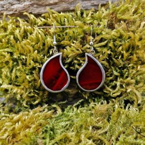 Szklane kolczyki łezki (czerwone)