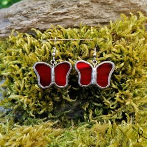 Szklane kolczyki motylki (czerwone)