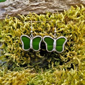 Szklane kolczyki motylki (zielone)
