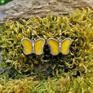 Szklane kolczyki motylki (żółte)