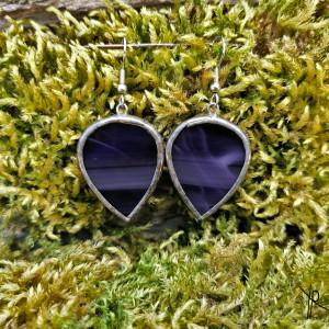 Szklane kolczyki odwrócone krople (fiolet)