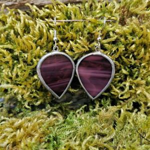Szklane kolczyki odwrócone krople (fioletowe)
