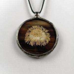 Szklany medalion koło z kwiatem podbiału (brązowy)