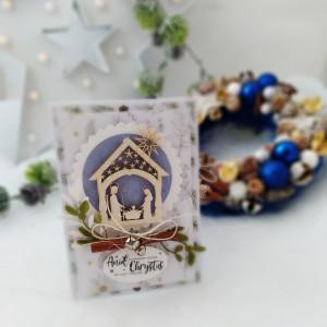 Szopka - kartka świąteczna niebieska