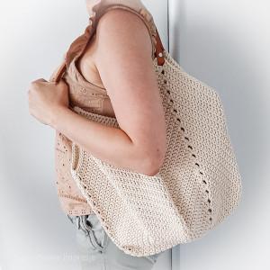Szydełkowa beżowa torba torebka kwadraciak