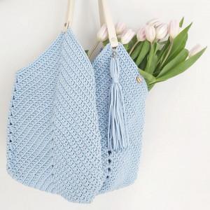 Szydełkowa błękitna torba torebka kwadraciak