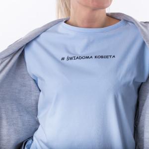 "T-shirt blue ,,Świadoma kobieta"""