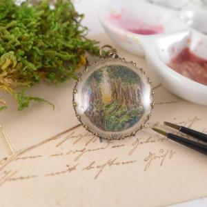 Tajemniczy las,  Ręcznie malowany naszyjnik