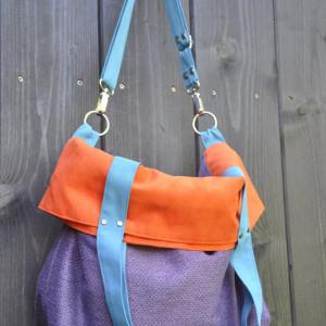 Torba na ramię-color block-turkus,fiolet,pomarańcz