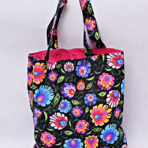 Torba na zakupy shopperka eko torba łowicz róż