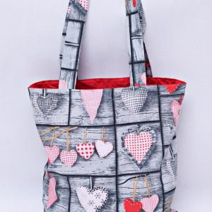Torba na zakupy shopperka eko torba serca retro