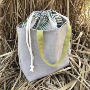 Torba XL ze ściągaczem, płótno, liście palmy