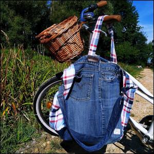 Torba z jeansu i lnu