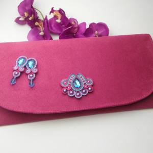 Torebka i kolczyki soutache róż turkus fiolet
