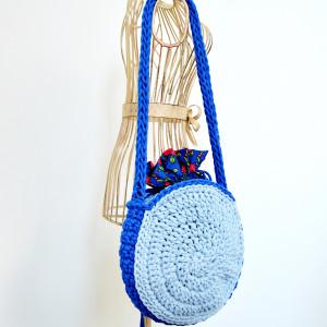 Torebka-koło błękitno-niebieska