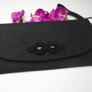 Torebka kopertówka elegancka sutasz czarna