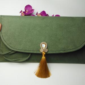 Torebka kopertówka wesele khaki zielona chwost