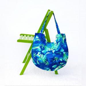 Torebka z tkaniny wodoodp. w liście na niebieskim