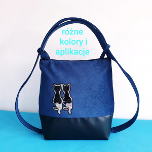 Torebko - plecak czarno niebieski z kotami