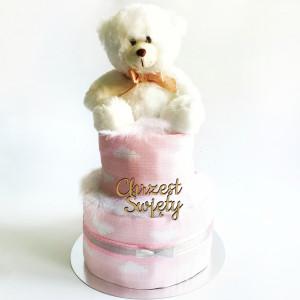 Tort wyprawkowy CHRZCINY - różowy