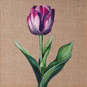 Tulipan malowany farbami akrylowymi na płótnie