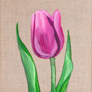 Tulipan malowany na płótnie + drewniana rama
