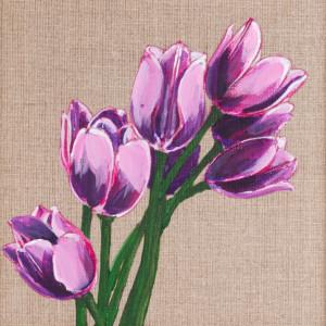 Tulipany malowane farbami akrylowymi na płótnie