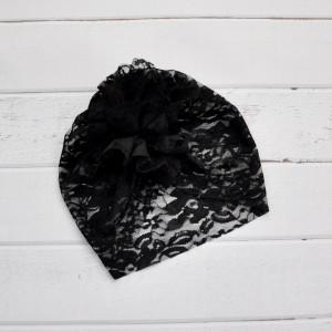 Turban, czapka z koronki czarna.