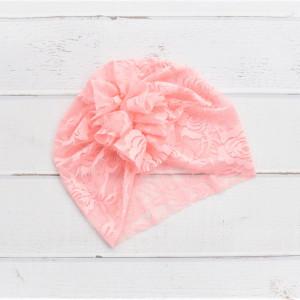 Turban, czapka z koronki łososiowa