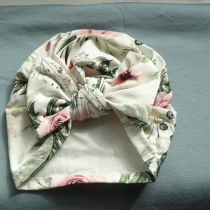 Turban dziecięcy kokarda kwiaty bawełna