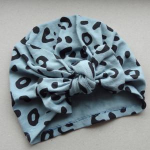 Turban kokarda brudny niebieski bawełna