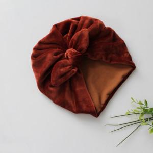 Turban podwójny welur miedź kokardka rozmiary
