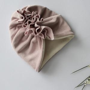 Turban polar zima welur pudrowy róż rozmiary